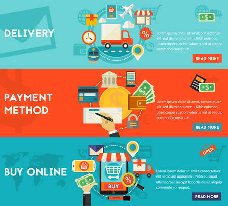 order: Payment Methods, Online Shopping and Delivery concept banners.  Flat style vector illustration online web banners