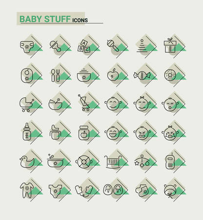 Vector set of trendy inline thin icons of baby stuff metaphors Illustration