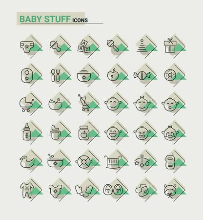 metaphors: Vector set of trendy inline thin icons of baby stuff metaphors Illustration