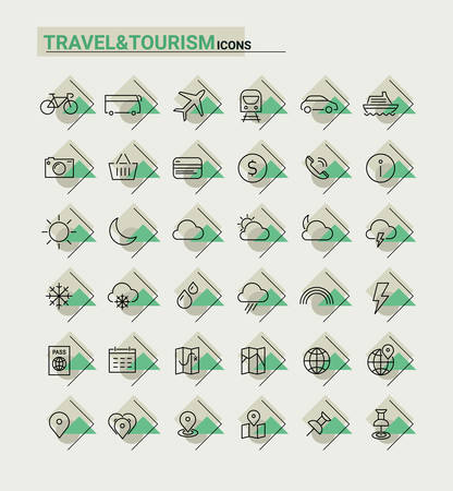metaphors: Vector set of trendy inline thin icons of travel and tourism metaphors, set 1 Illustration