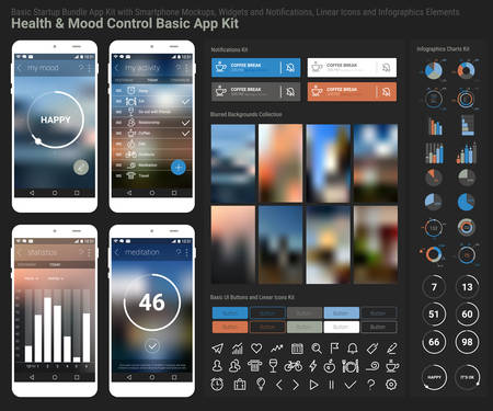 Flat design responsive Health and Mood Control UI mobile app template with trendy blurred backgrounds, smartphone mockups, notificatons, infographics charts kit and linear ui icons collection Иллюстрация