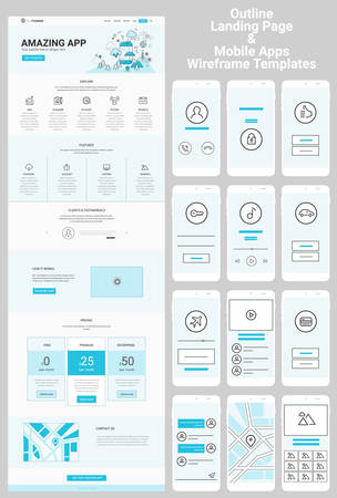 wordpress: Responsive landing page or one page website and mobile apps template mockups wireframe workflow collection
