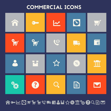 Modern flat design multicolored commercial icons collection Illustration