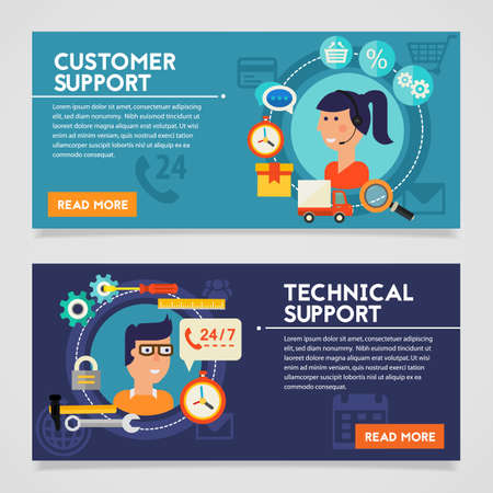 call centre girl: Customer and Technical Support concept banners. Flat style vector illustration online web banners Stock Photo
