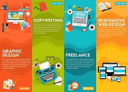 freelance: Graphic and responsive webdesign, copywriting and freelance concept. Horizontal banners Stock Photo
