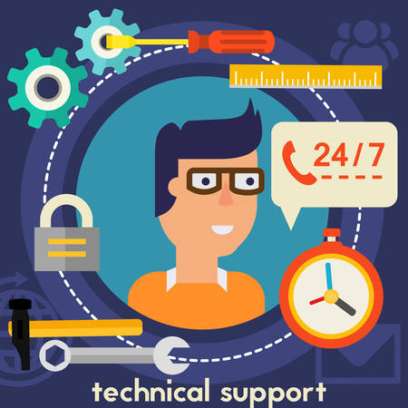 square composition: Technical support concept banner. Square composition, vector illustration