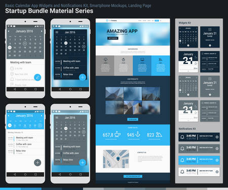 Material design responsive pixel perfect UI mobile calendar app, widgets and notifications kit, smartphone mockups and website landing page template with trendy blurred header background. Startup Bundle Material Series Illustration