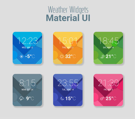 line material: Trendy mobile app weather widgets UI kit, on trendy material background, with bold line icons Illustration