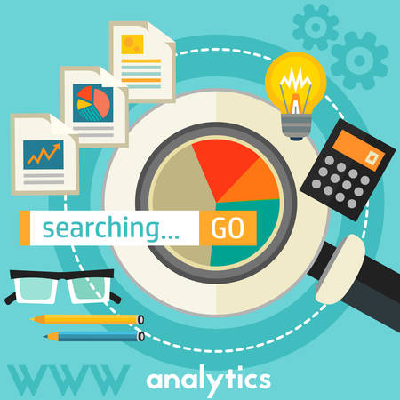 square composition: Searching Analytics concept banner. Square composition, vector illustration Illustration