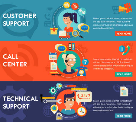 assistance: Customer and Technical Support and Call Senter concept banners. Flat style vector illustration online web banners
