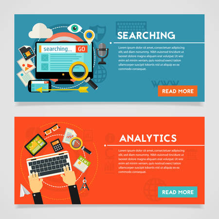 Searching and Analytics concept banner. Square composition, vector illustration