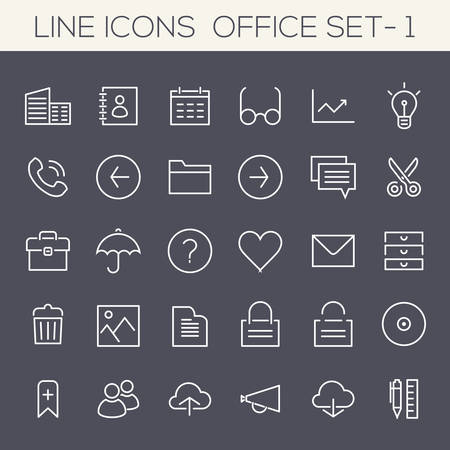 Thin line office icons on colored squares, set 1 Illustration
