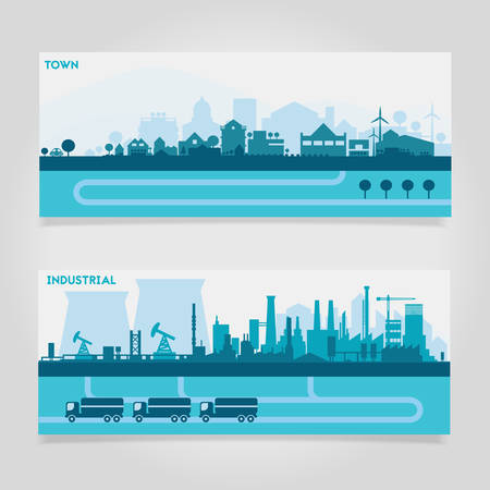 suburbs: Vector horizontal banners skyline Kit with various parts of city - factories, refineries, power plants and small towns or suburbs. Illustration divided on layers for create parallax effect