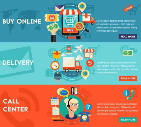 Call Center, online winkelen en levering concept banners. Vlakke stijl vector illustratie online webbanners Vector Illustratie