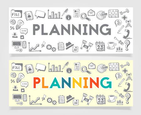 printed work: Vector Material Doodle Banner Concept Business Planning