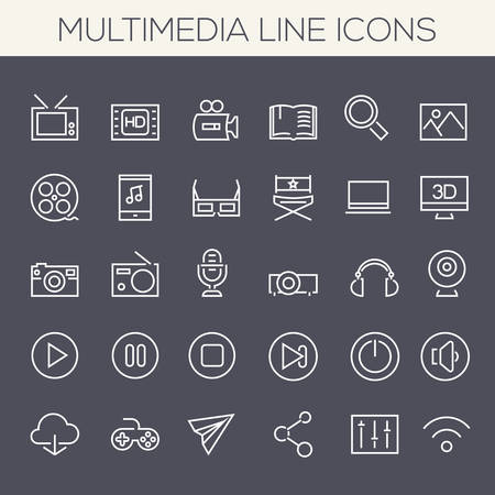 multimedia icons: Thin line multimedia icons on colored squares