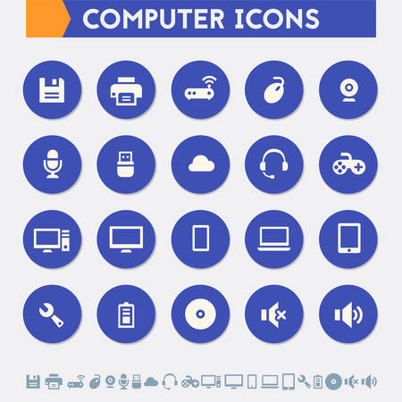 computer icons: Modern flat design material computer icons collection
