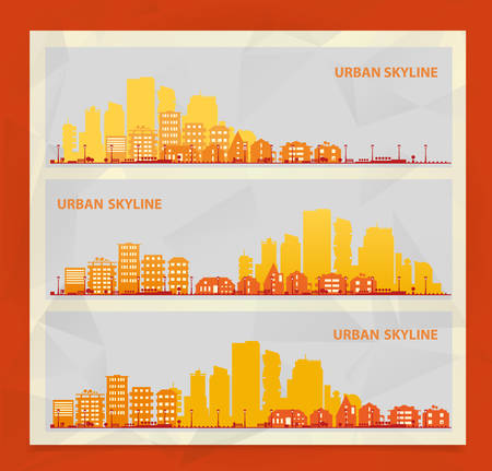 countryside: Cityscape sets with various parts of a city. Small towns or suburbs and downtown silhouettes. Illustration divided on layers for create parallax effect Illustration