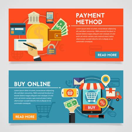 Betaalmethoden en Online Shopping concept banners. Vlakke stijl illustratie online web banners