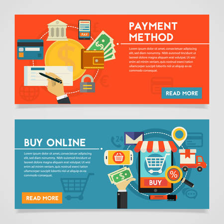 online shopping: Payment Methods and Online Shopping concept banners. Flat style illustration online web banners