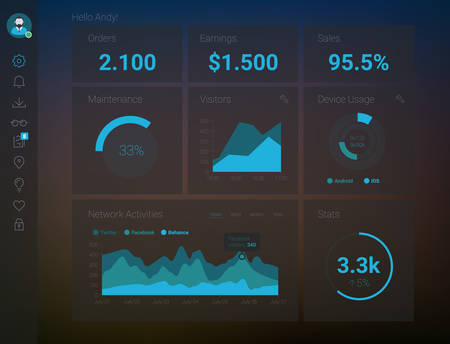 dashboard background: Futuristic flat design material style administration app dashboard