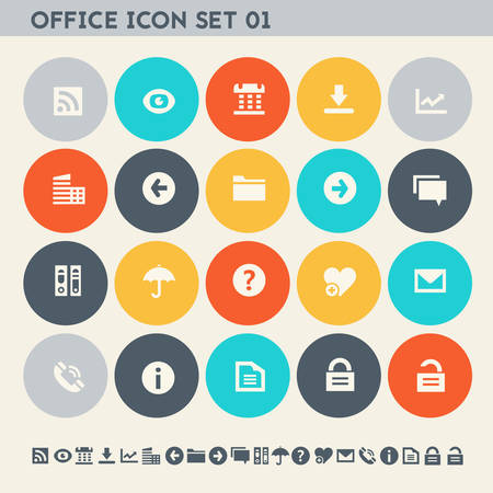 umbrela: Modern flat design multicolored office 1 icons collection
