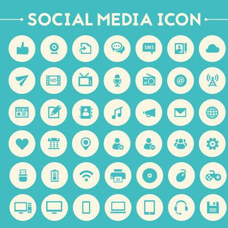 grandes iconos de redes sociales de diseño de moda plana establecidos en los botones redondos brillantes Ilustración de vector