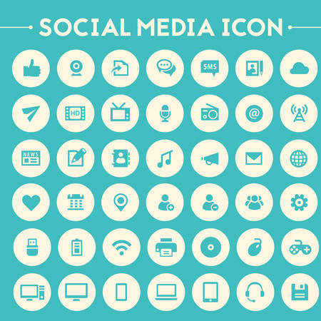media icons: Trendy flat design big social media icons set on bright round buttons Illustration