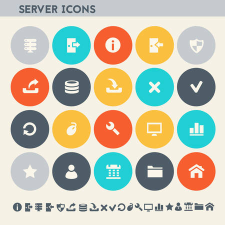 Modern flat design multicolored server icons collection