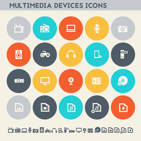 Modern flat design multicolored icons collection of multimedia devices Illustration