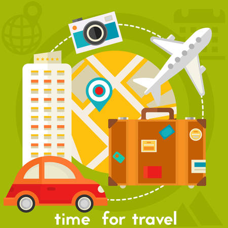 square composition: Time for travel concept banner. Square composition, vector illustration