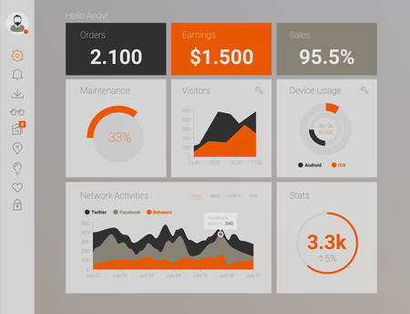 Futuristic flat design material style administration app dashboard