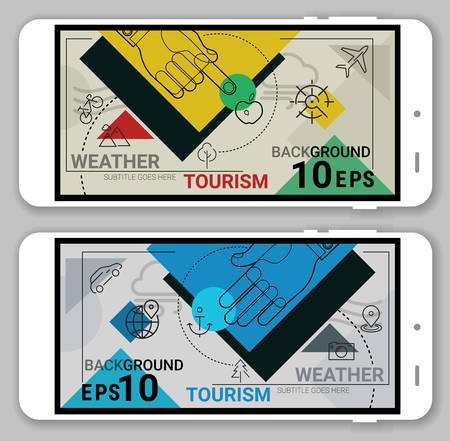 line material: Weather, Travel and Tourism website header trendy line geometrical material background. Line bold design vector illustration online web banner with smartphone mockups