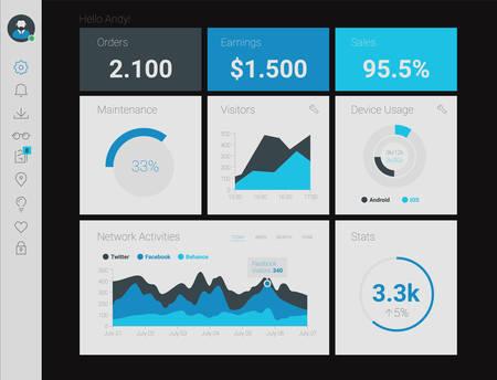 Futuristic flat design material style administration app dashboard Фото со стока - 61449078