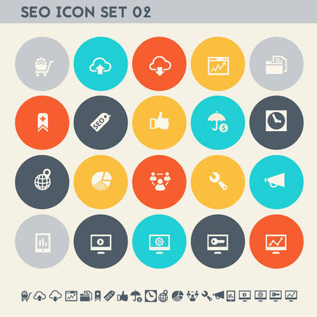 Modern flat design multicolored SEO icons collection, set 2