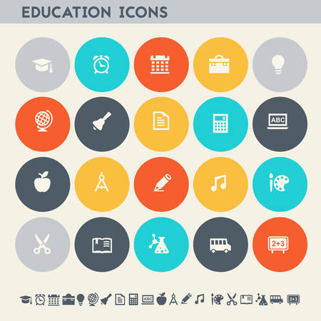 Modern flat design multicolored educational icons collection