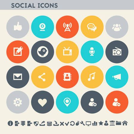 users video: Modern flat design multicolored social icons collection Illustration