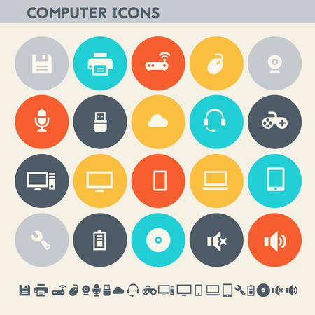 speakers: Modern flat design multicolored computer icons collection