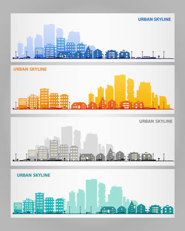 realestate: Cityscape sets with various parts of a city. Small towns or suburbs and downtown silhouettes. Illustration divided on layers for create parallax effect Illustration