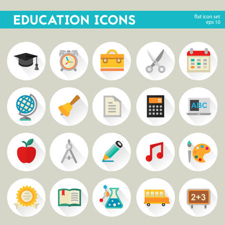 exercisebook: Flat detailed education colored icons on circles Illustration