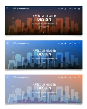 website header: Trendy blurred polygonal website header slider webdesign kit with city skyline and industrial backgrounds