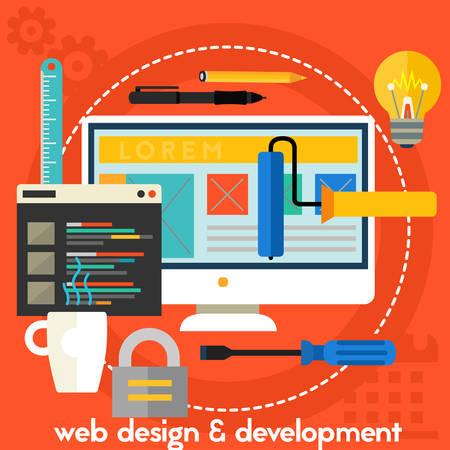 Webdesign and development concept banner. Square composition vector illustration banner