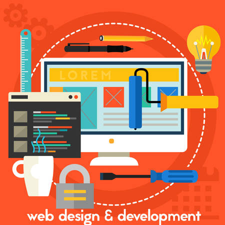 Webdesign and development concept banner. Square composition vector illustration banner