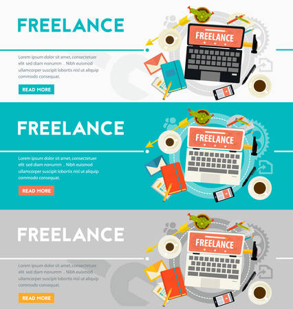 freelance: Vector freelance concept banner. Flat style vector illustration online web banner Illustration