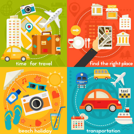 navigator: Time for travel four concept banners. Square composition, vector illustrations Illustration