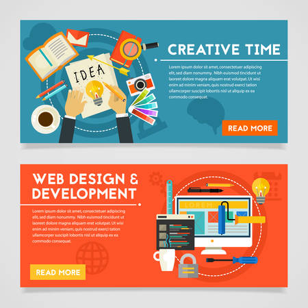 gadget: Creative Time and Webdesign and Development concept banners. Horizontal composition, vector illustrations