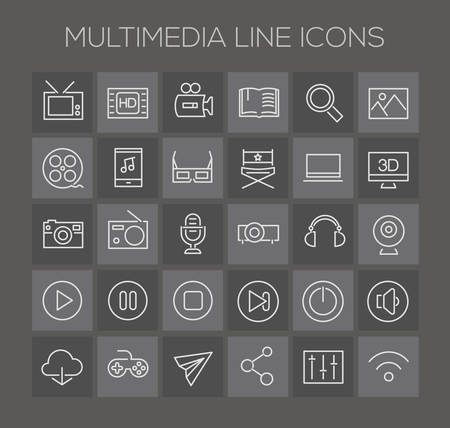 multimedia icons: Trendy line icons - Multimedia icons on dark Illustration
