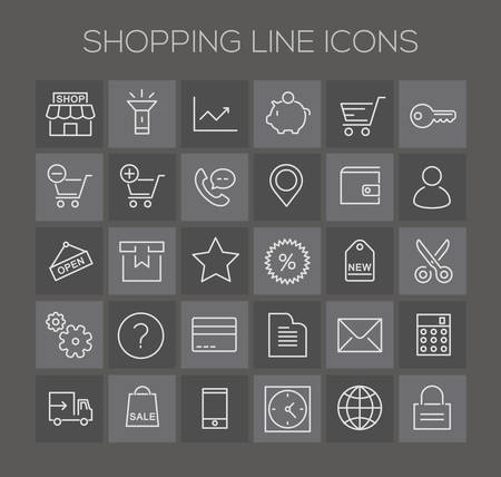 ecommerce icons: Trendy line icons - Online Shopping and E-commerce