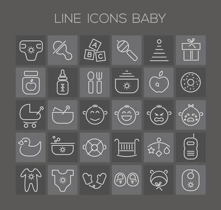 puree: Trendy line icons - baby icons on dark