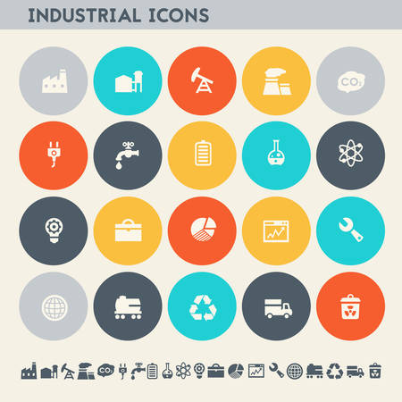 Modern flat design multicolored industrial icons collection